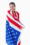 Pretty brunette wearing the american flag
