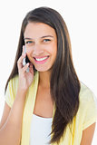 Happy casual woman on the phone