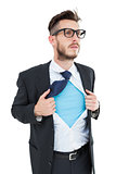 Geeky hipster opening shirt superhero style