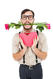 Geeky hipster offering valentines gifts