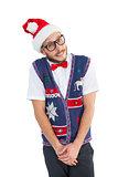 Geeky hipster in santa hat