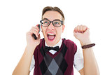 Excited geeky hipster talking on the phone