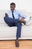 Handsome businessman sending text on sofa