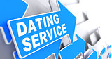 Dating Service on Blue Arrow Sign.