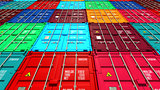 Lots of Colorful Cargo Containers.