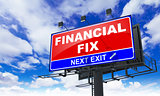 Financial Fix on Red Billboard.