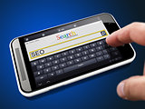 SEO in Search String on Smartphone.