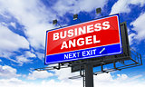 Business Angel on Red Billboard.
