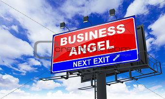 Business Angel on Red Billboard.