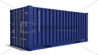 Blue 3d Container Isolated on White.