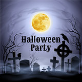 Halloween Party on a spooky graveyard under full Moon