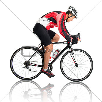 Asian male cyclist