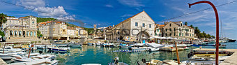 Town of Hvar panoramic waterfront view