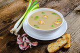 Soup garlic with toasted croutons