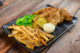 Fish and chips with homemade mayonnaise