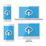 Isolated gadgets. Cloud storage concept