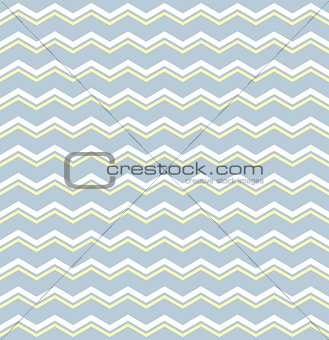 Tile vector pattern with white and yellow zig zag print on pastel blue background