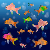 Colorful cartoon fishes in the water space