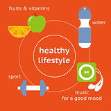 Infographic illustration of healthy lifestyle