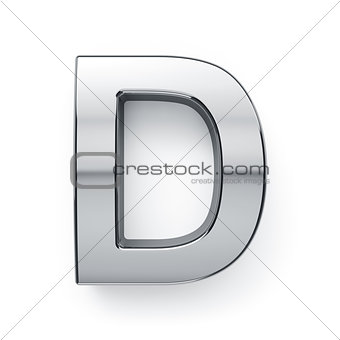 3d render of metalic alphabet letter simbol - D