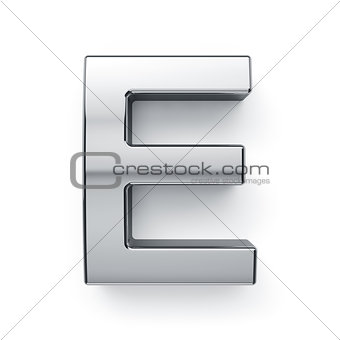 3d render of metalic alphabet letter simbol - E
