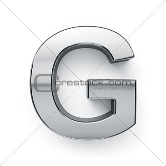 3d render of metalic alphabet letter simbol - G