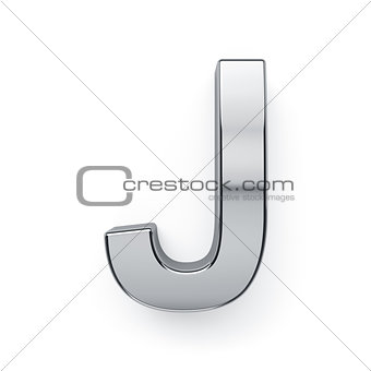 3d render of metalic alphabet letter simbol - J