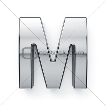 3d render of metalic alphabet letter simbol - M