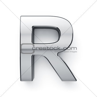 3d render of metalic alphabet letter simbol - R