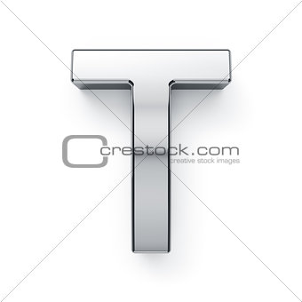 3d render of metalic alphabet letter simbol - T