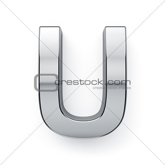 3d render of metalic alphabet letter simbol - U