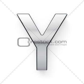 3d render of metalic alphabet letter simbol - Y
