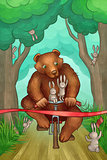bear is racing on bicycle in the forest