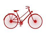 Silhouette of vintage bicycle in red design