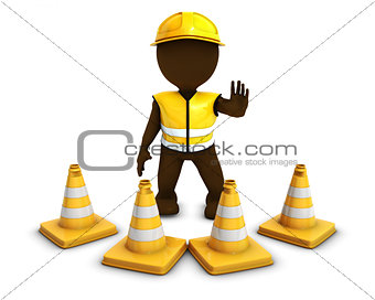 3D Morph Man Builder with Caution Cones