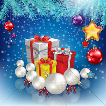 abstract celebration greeting with Christmas gifts and decoratio