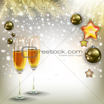 abstract greeting with Christmas decorations and champagne