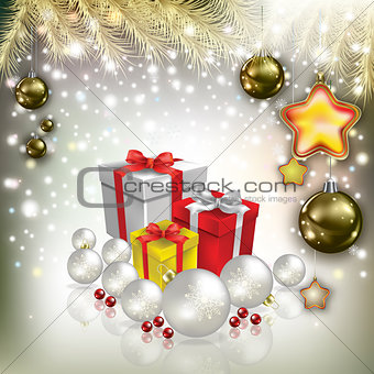Abstract Christmas greeting with decorations