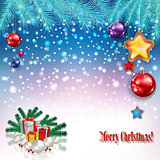 abstract greeting with Christmas gifts and decorations