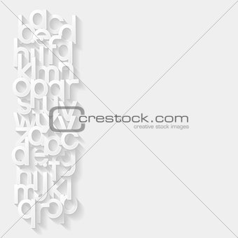 Abstract background with paper alphabet