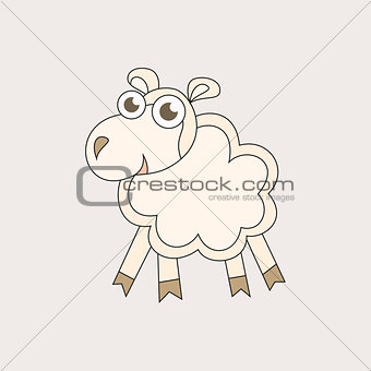 Cartoon sheep, character for Christmas and 2015 New Year