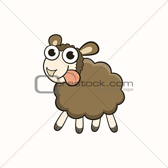 Cartoon sheep, character for Christmas and New Year 2015