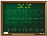 2015 calendar on chalkboard