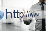 internet address in web browser on virtual screen