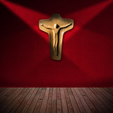Wooden Crucifix in Red Room - Religious Background