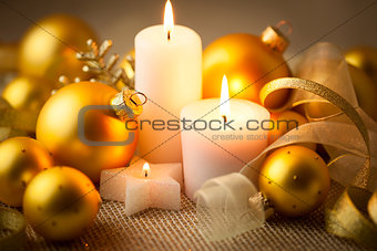 Christmas candles background with glitter and baubles