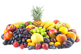 Different  organic Fruits isolated on white background