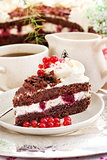 Piece of fresh homemade Black Forest cake