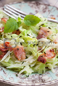 Braised cabbage with bacon and thyme