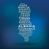 Albania map made with name of cities